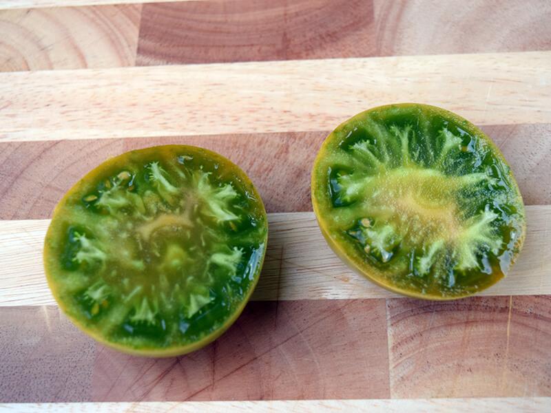 aunt ruby's german green tomato cut open inside