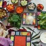 soaked pita veggie wraps ingredients arrange on table